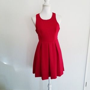 Lulus red fit & flare glitter tank dress